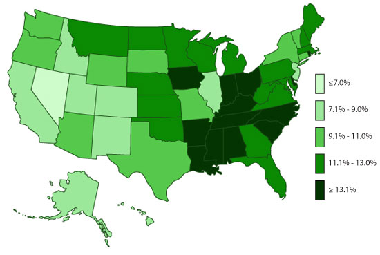 Map of ADHD diagnoses by US State